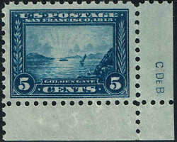 403 Plate Finishers Initials 1915 5c Perf10 Pan-pacific Issue Mint-og/nh
