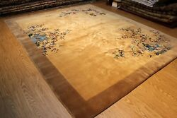 ART DECO Vintage Chinese 9' X 11' Garden design pictorial light brown Khaki #PM