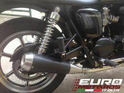 For Triumph Bonneville Naked /se 2007-2014 Silmotor Exhaust Dual Silencers Black