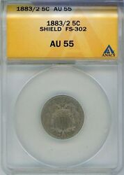 1883/2 Shield Nickel Anacs Certified Au 55 Rare Fs-302 Over Date - Jf302