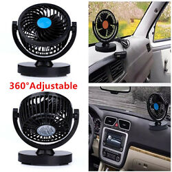 12V Car Fan 360° Rotating 2Speed Strong Wind Fan Home Auto Truck Air Conditioner