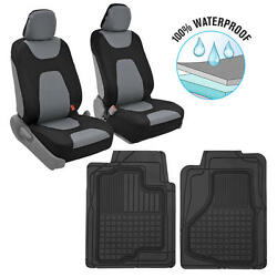 Motor Trend 3 Layer Waterproof Car Seat Covers Black/gray + 2 Rubber Floor Mats