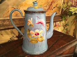 French Blue Floral Enamelware Coffee Pot Graniteware South Of France