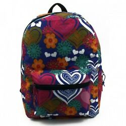 School Backpack 17quot; Tablet Laptop Girls Fashion Heart and Floral Style W Tags $16.00