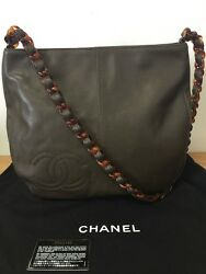 CHANEL Brown Caviar Leather Bag with Tortoise Chain Strap