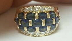 Estate 14k Yellow Gold Sapphire And Diamond Dome Style Band Ring