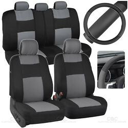 Car Seat Covers Steering Wheel Cover Gray Black 5 Headrests Split Option Bench