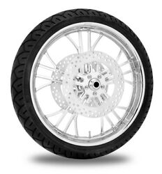 Performance Machine 21 Front Chrome Dixon Wheel Tire Rotor Package Harley 14-15