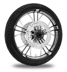 Performance Machine 21 Front Black Dixon Wheel Tire Rotor Package Harley 08-13