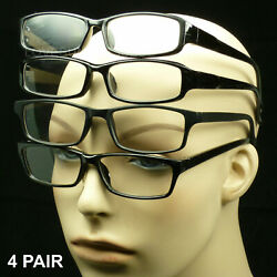 Reading glasses men women black 4 pair pack power lens new mix frame shape $7.95