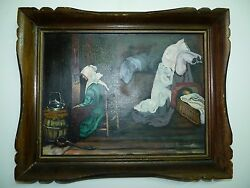 Antique/vintage Hungarian Painting Oil/b, L.gabor, Woman In A Room, 30 X 40 Cm