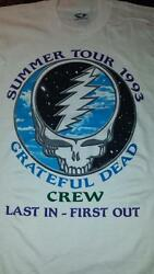Grateful Dead Summer Tour 1993 Last In - First Out Crew Shirt Steal Your Face L