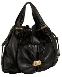 JUICY COUTURE WOMEN BLACK GENUINE LEATHER HOBO BAG GOLD HARDWARE NEW