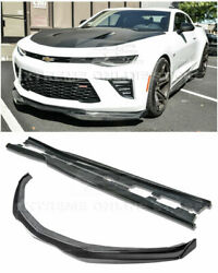 Eos T6 Style Carbon Fiber Front Lip End Caps And Side Skirts For 16-up Camaro All