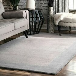 Nuloom Hand Made Contemporary Modern Bordered Wool Area Rug In Grey