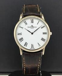 Baume And Mercier Geneve 18k White Gold Case Leather Strap White Dial Steel Buckle