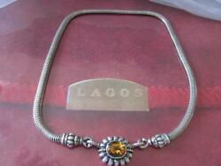 Lagos Caviar Citrine Enhancer Snake Chain C Clasp Ends S/s And 18k Gold Necklace