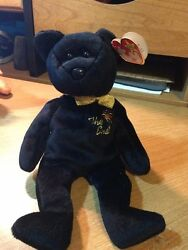 Retired Ty Beanie Babies The End Bear 04265 With Errors, Flat Tush Tag, Mint