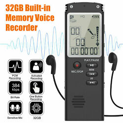 32gb Lcd Screen Digital Voice Recorder Pocket Sound Audio Dictaphone Mp3 Player