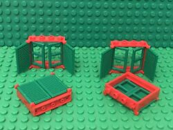 Lego 4 Red Window 1x4x3 With Shutter Tabs W/ Green Shutter And Green Window Pane