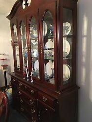 Cherry Dining Room-table With Protective Cover 6 Chairs China Cabinet Server.
