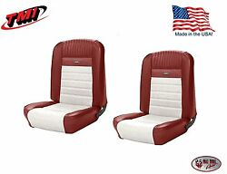 Full Set Deluxe Pony Seat Upholstery Mustang Fastback, F/r, Bright Red And White