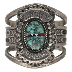 Native American Navajo Jerry Martinez Sterling Large Cuff Bracelet Turquoise