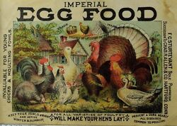 1870's-80's Card Label Imperial Egg Food For Egg-laying Hens Turkey Ducks F93