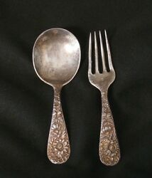 Vintage Sterling Silver S Kirk And Son Matching Baby Spoon And Fork G66