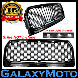 White 3x Led Light W/ Harness For Galaxy 15-17 Ford F150 Raptor Style Grille