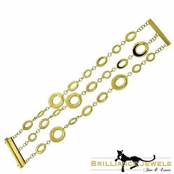 Magnificent Yellow Gold Three-strand Contempo Round Circle Chain Link Bracelet