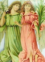 1870's-80's Lovely Large Angels Lilies Die Cut Victorian 6 1/4 X 9 1/4 T