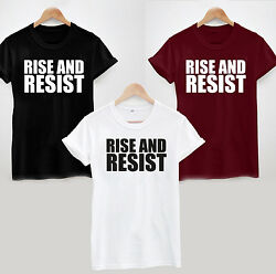 Rise And Resist T-shirt - Slogan Statement Protest Top Tee Mens Womens Ladies