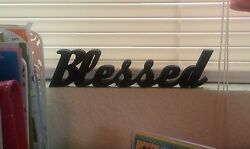 Blessed Sign Shelf Sitter Desktop Dorm Decor Wall Hanging Decor Word Art