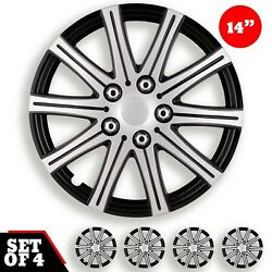 Set 4 Hubcaps 14 Wheel Cover Fuji Silver Black Abs Easy To Install Universal
