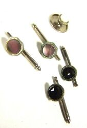 Two Nice Vintage Sets Tuxedo Shirt Studs Or Cuff Links W/ Collar Stud