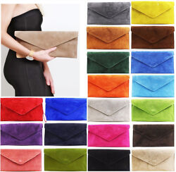 Ladies Real Leather Envelope Clutch Evening Bags Womens Suede Shoulder HandBags GBP 11.94