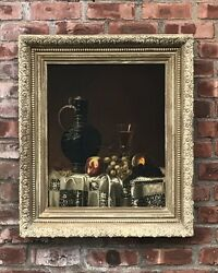 19th C. Dutch Style Still Life Painting Attributed Jean Baptiste Robie. Signed