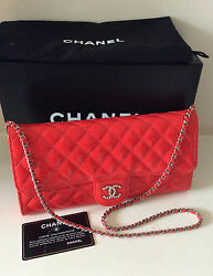 CHANEL RED PATENT QUILTED WOC SILVER CC CLUTCH BAG