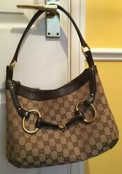 100% genuine luxury Gucci Canvas and Leather Handbag - made in Italy