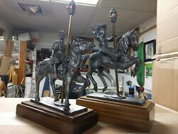 Michael Ricker Pewter Park Carousel Horse Girl And Boy Figurines 5/750 43/1000
