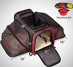 Airline Approved Pet Cat Dog Animal Travel Carrier Two Side Expansion Spacious