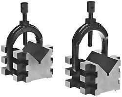 Brown And Sharpe 599-750-2 V Block And Clamp Pair Set, Hardened Steel