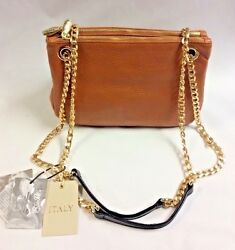 NWT VALENTINA Made In Italy Leather Zip Crossbody Gold Chain Straps Tan Cognac $99.99