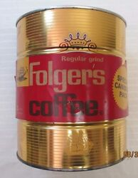 Vintage Folgers 3 Lb. Coffee Can - Gold Canister Cutty Sark Ships - C1963 - Full