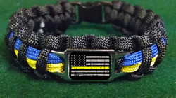 Thin Yellow Line Police Dispatchers 911 American Flag Paracord Bracelet