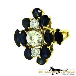 Gorgeous Diamond And Dark Blue Sapphire Cluster Yellow Gold Ring
