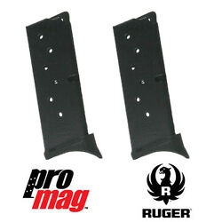 2x Promag 7 Rd 9mm Ex Blue Steel Clip Magazine Rug16 For Ruger Lc9 Lc9s Ec9 Ec9s