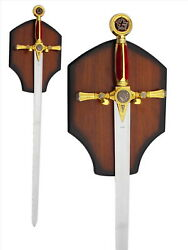 New 45 Medieval Masonic Knights Templar Sword With Display Plaque