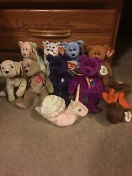 Lot of 10 Retired TY Beanie Babies-includes Rare Princess Diana Bear